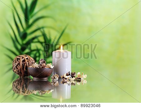 spa still life on green background
