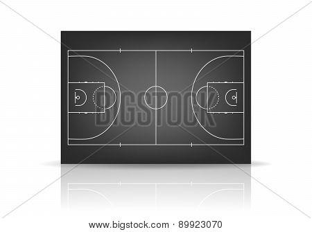 Vector Black Basketball Court