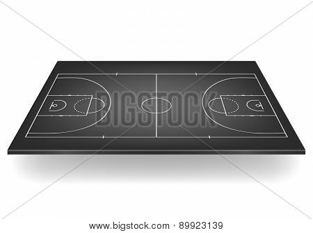 Black Basketball Court. Vector Illustration.