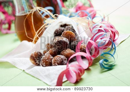 Finnish traditional Vappu food, sugar donuts with sima