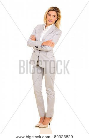 pretty young career woman standing on white background