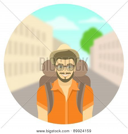 Young Man Tourist With A Backpack On City Landscape