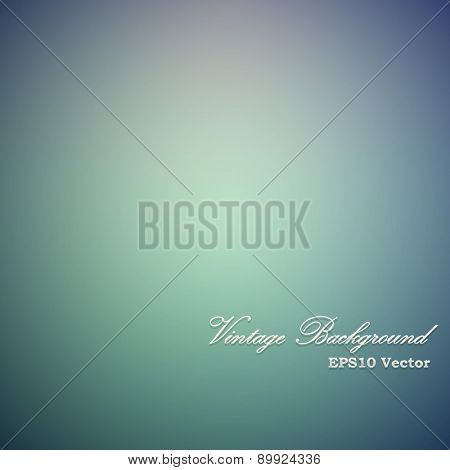Vintage green and blue vignette vector background.