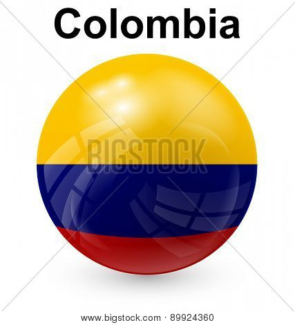 colombia official flag, button ball
