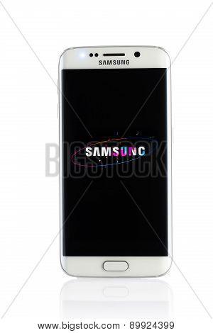 Studio Shot Of A White Samsung Galaxy S6 Edge Smartphone