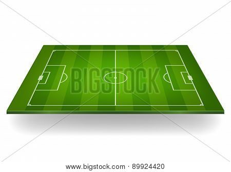 Striped Soccer Field. Vector Illustration.