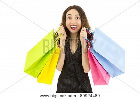 Shopping Woman Excited And Happy