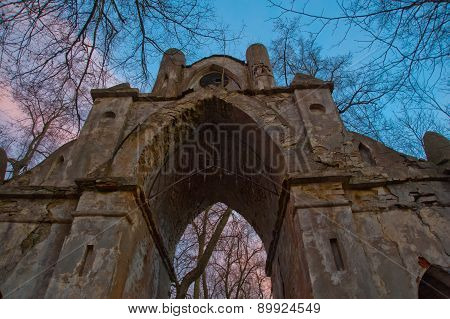 The Old Ruined Arch In The Gothic Style In Russia In The Ruined Manor