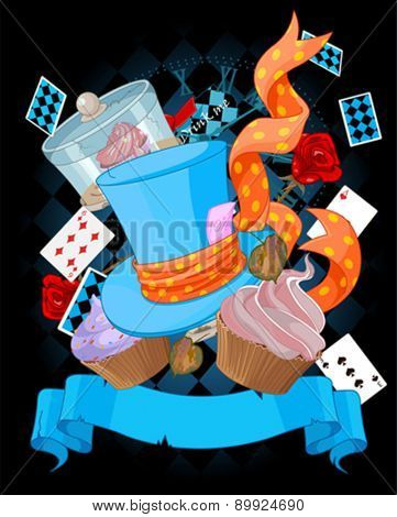 Wonderland top hat and cupcakes background