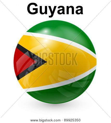 guyana official flag, button ball