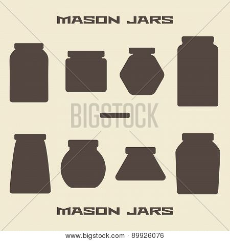 Mason Jars  Silhouette Icons Set.