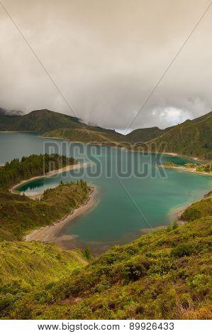 Caldera Lago Di Fogo - Lake On Azores Islands