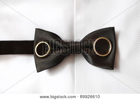Groom Bow-tie Closeup With Rings