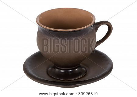 Ceramic Cup For Coffee, Isolated On White Background