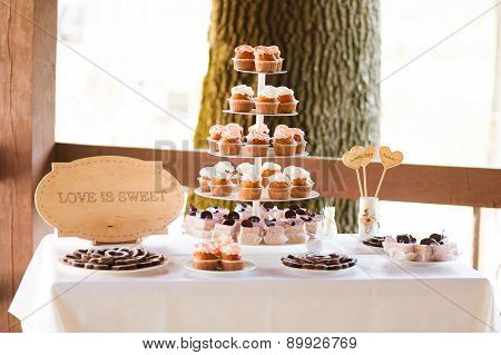 Cupcakes Tower At The Banquet Table