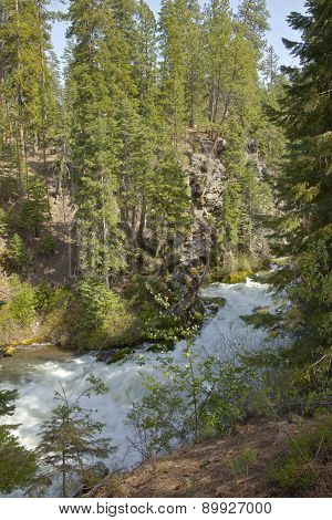 River Flow And Forest Central Oregon.