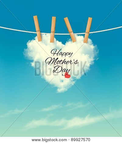 Happy Mother's Day cloud background. Vector.