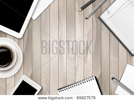 Office workspace background - coffee, tablet, notebooks and paper. Vector.