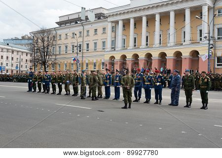 Battalion Commanders In Uniform Are At Rehearsal Of Military Parade