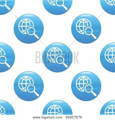 Globe under loupe sign pattern
