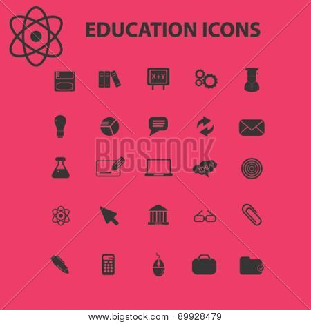 Education, study, lesson icons, and signs. illustrations set, vector