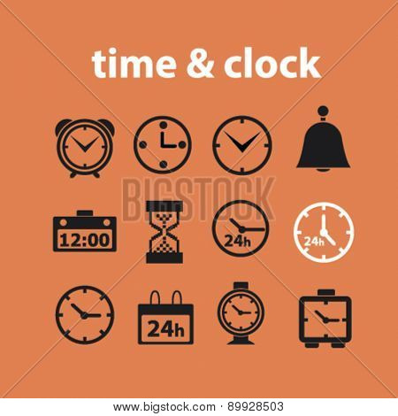 Time, clock, minute, 24h, hour icons, and signs. illustrations set, vector