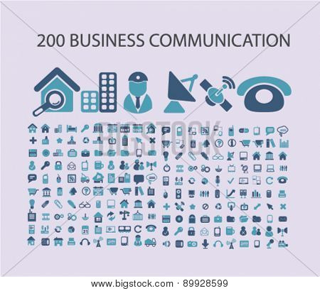 200 business communication, technology icons, signs. illustrations set, vector