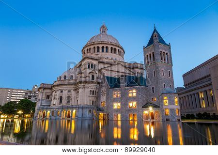 The First Church Of Christ Scientist In Christian Science Plaza  At Twilight In Boston