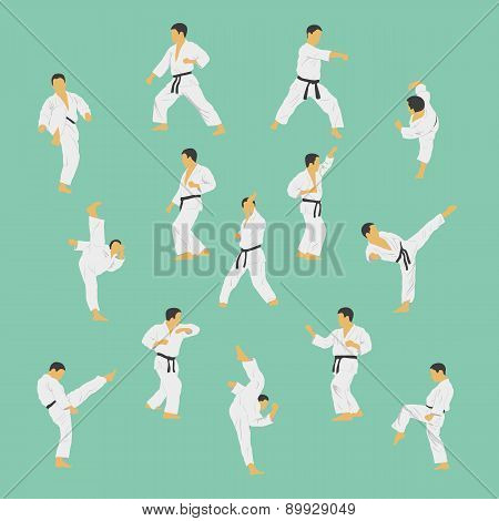 Group Of The Men Showing Karate.
