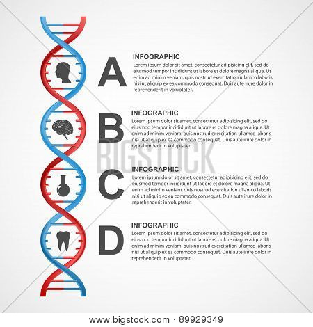 Dna Science Infographics. Vector Design Element.