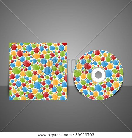 Cd Cover Design With Colorful Bubbles.