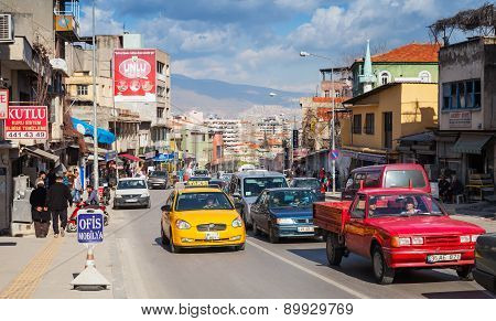 Izmir Street View With Buildings, Cars And People