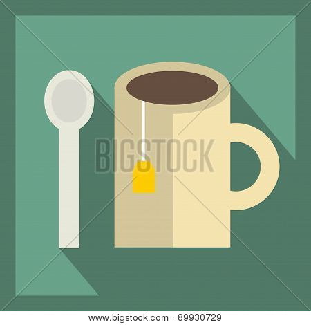 Tea cup icon. vector illustration.