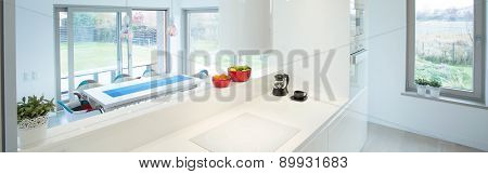 Kitchen With Overlook At Dining Area