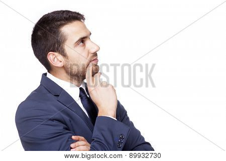 Thoughtful business man, isolated on white background