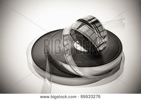 Three 35Mm Movie Reels In Black And White