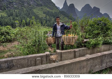 Chinese Carrying Pole Over Shoulder With Baskets Of Oranges Hanging.