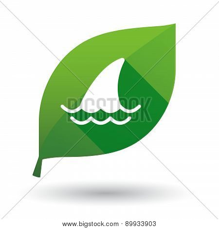 Green Leaf Icon With A Shark Fin