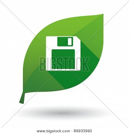 Green Leaf Icon With A Floppy Disk