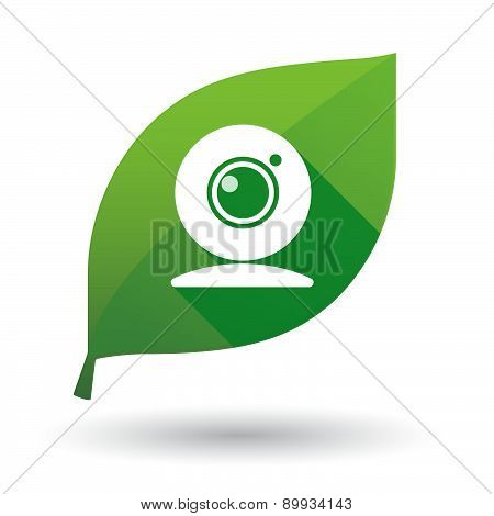 Green Leaf Icon With A Web Cam