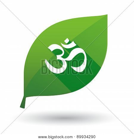 Green Leaf Icon With An Om Sign