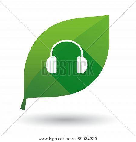 Green Leaf Icon With A Earphones