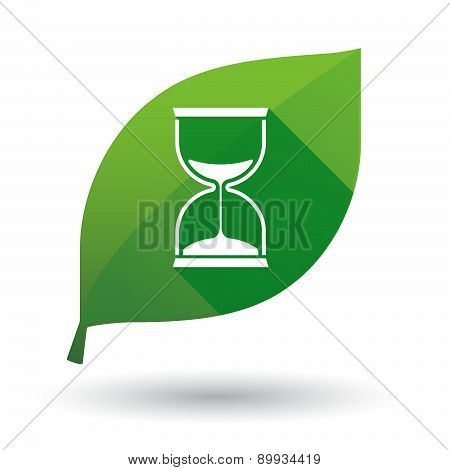 Green Leaf Icon With A Sand Watch
