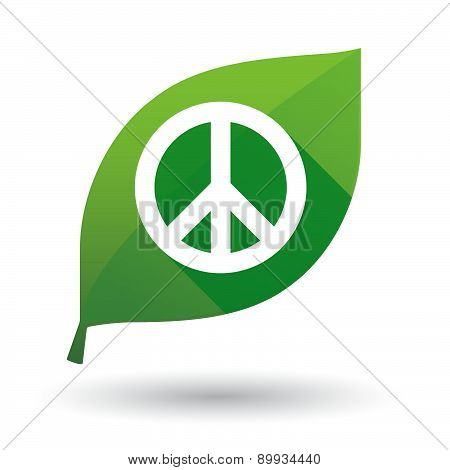 Green Leaf Icon With A Peace Sign