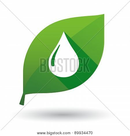 Green Leaf Icon With A Fuel Drop