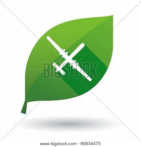 Green Leaf Icon With A War Drone