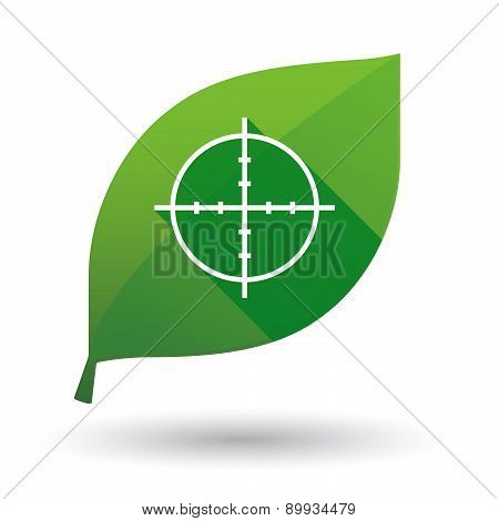 Green Leaf Icon With A Crosshair