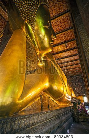 Reclining Buddha Statue In Temple Wat Pho
