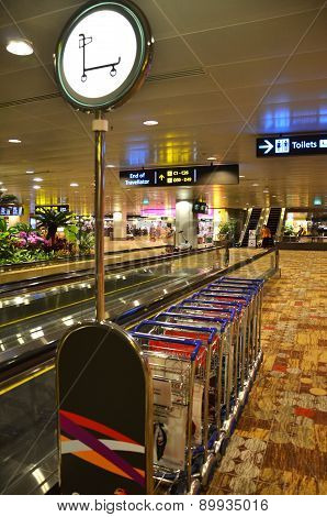 Baggage Carts In Changi Airport, Singapore