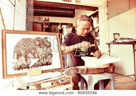 Artist Creates The Handicraft By Using Buffalo Skin